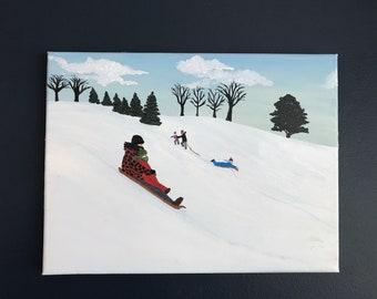 """Tobogganing Original Acrylic Painting (12""""x16"""")"""