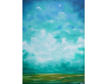 "Original Painting, Abstract Landscape, Abstract Skyscape, Wall Art, Wall Decor, Cloud Painting, Cloud Art, Fantasy Landscape, ""Moorland"""