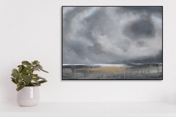 Pittura originale astratto paesaggio tela nero bianco etsy