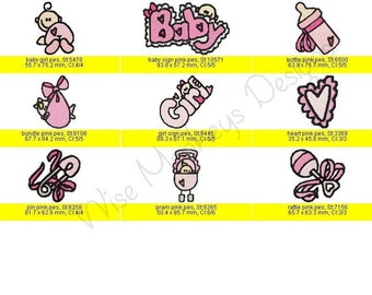 Cute Baby machine embroidery designs set of 18 - Both Pink and Blue