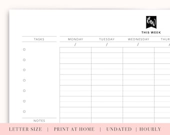 printable weekly planner with hours