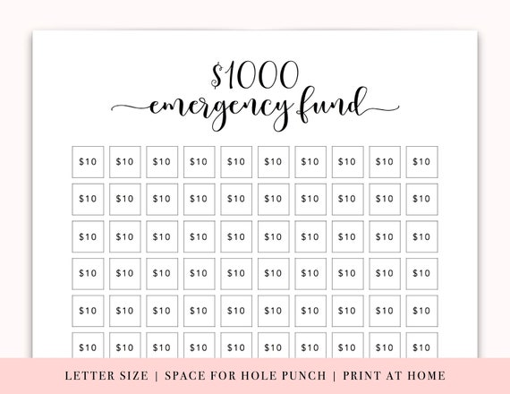 Emergency Fund Printable Letter Size Baby Steps Printable ...