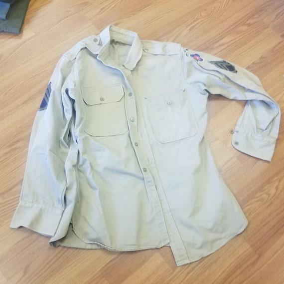 Vintage  Military Khaki Army Shirt , 1950s Korea … - image 2