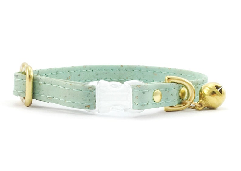 5296215f706ab Green Cat Collar in Pastel Mint Green Vegan Cork 'Leather' With Breakaway  Safety Buckle & Brass Bell, Luxury Vegan Leather Green Cat Collar