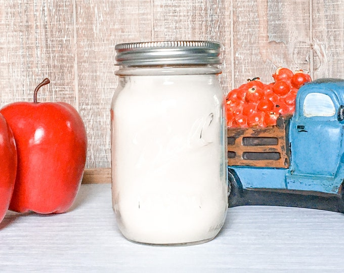 Apple Pie 16 oz Soy Candle - Scented Candle - Farmhouse Home Decor - Soy Wax - Mason Jar - Vintage Jar - Glass Jar - Canning Jar Collection