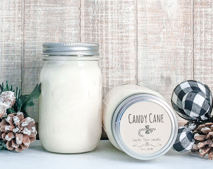 Candy Cane 16 oz Soy Candle - Christmas Scented Candle - Farmhouse Home Decor - Soy Wax - Mason Jar Candle - Vintage Jar - Glass Jar