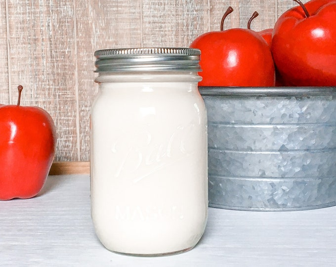 Apple & Cinnamon 16 oz Soy Candle - Scented Candle - Farmhouse Home Decor - Soy Wax - Mason Jar Candle - Earth Tone Candles