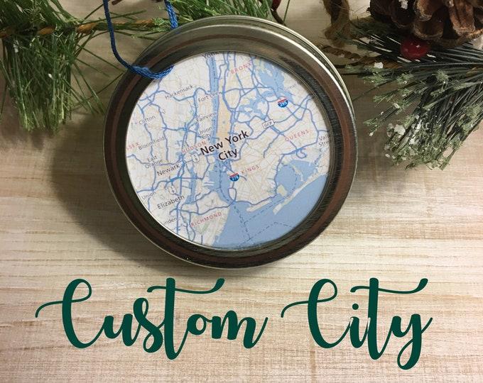 Personalized Custom City Map Christmas Ornament - Travel Gift - Mason Jar Ornament - Winter Farmhouse Decor - Stocking Stuffer