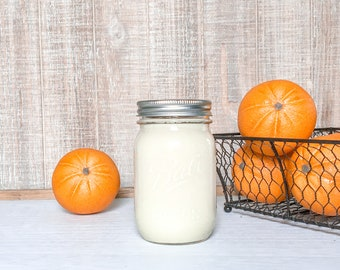 Fresh Orange Soy Candle - Scented Candle - Farmhouse Home Decor - Soy Wax - Mason Jar Candle - Earth Tone Candles