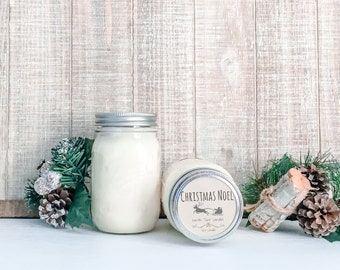 Christmas Noel Soy Candle - Christmas Scented Candle - Farmhouse Home Decor - Soy Wax - Mason Jar Candle - Earth Tone Candles