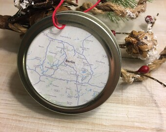 Berlin Germany City Map Christmas Ornament - Travel Gift - Mason Jar Ornament - Winter Farmhouse Decor - Stocking Stuffer