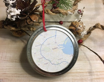 Dublin Ireland City Map Christmas Ornament - Travel Gift - Mason Jar Ornament - Winter Farmhouse Decor - Stocking Stuffer
