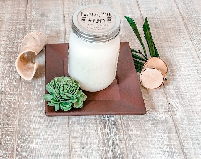 Featured listing image: Oatmeal, Milk & Honey Soy Candle - Scented Candle - Farmhouse Home Decor - Soy Wax - Mason Jar Candle - Earth Tone Candles