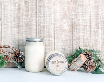 Sugar Cookie Soy Candle - Christmas Scented Candle - Farmhouse Home Decor - Soy Wax - Mason Jar Candle - Earth Tone Candles