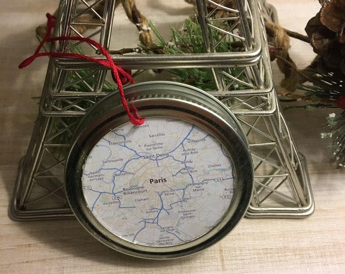 Paris France City Map Christmas Ornament - Travel Gift - Mason Jar Ornament - Winter Farmhouse Decor - Stocking Stuffer