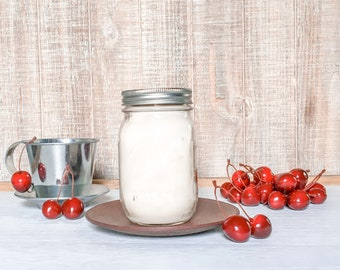 Cherry Almond Soy Candle - Scented Candle - Farmhouse Home Decor - Soy Wax - Mason Jar Candle - Vintage Jar - Glass Jar