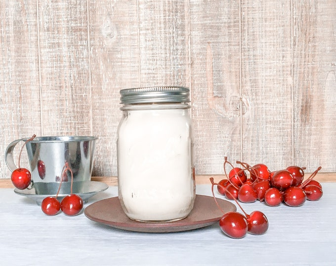 Featured listing image: Cherry Almond Soy Candle - Scented Candle - Farmhouse Home Decor - Soy Wax - Mason Jar Candle - Earth Tone Candles