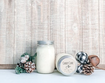 Candy Cane Soy Candle - Christmas Scented Candle - Farmhouse Home Decor - Soy Wax - Mason Jar Candle - Vintage Jar