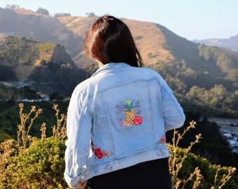 Piña Colada Embroidery Denim Jacket