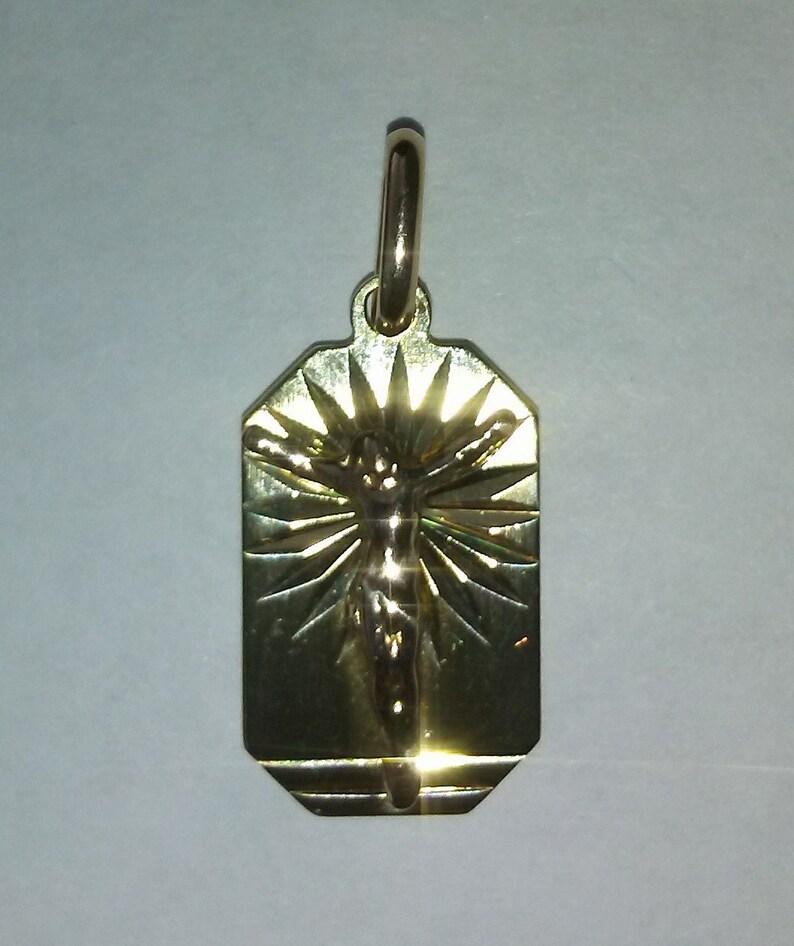 Solid 14k yellow gold pendant Jesus Christ