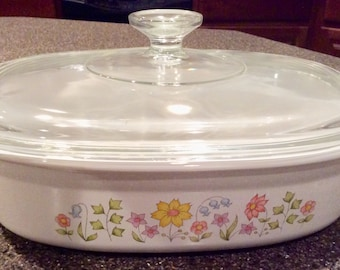Corning Ware Meadow 1 1/2 Quart Casserole Dish with Lid P-1 1/2-B