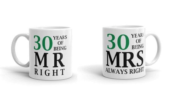 10th Anniversary Gift Set of 2 China Mugs Mr Right /& Mrs Always Right by Juliana