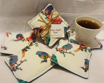 Beautiful Bird Fabric Coasters - Emmaleighskitch - great for your house, dorm, or apartment - artistic birds