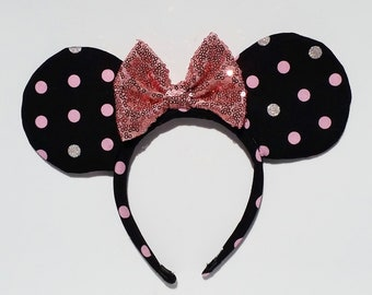 Polka Dots Mouse Ears with a Blush Pink Glitter Bow