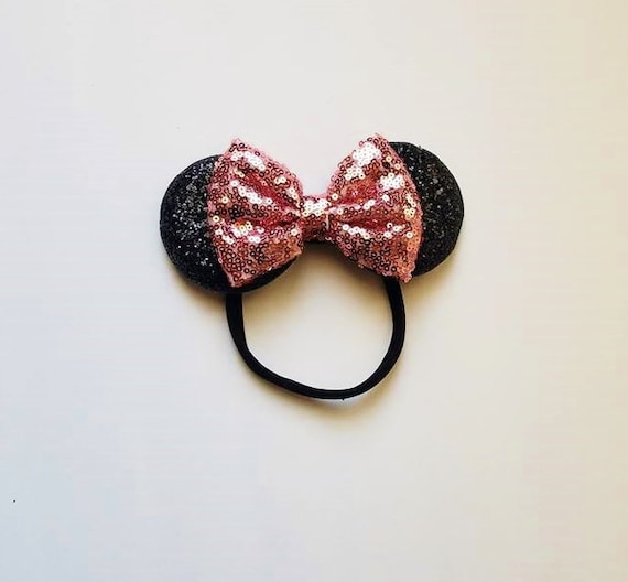 Minnie Mouse Ears with Rose Gold Bow  Vintage Style  Mouse Ears  Minnie Ears  Classic Ears