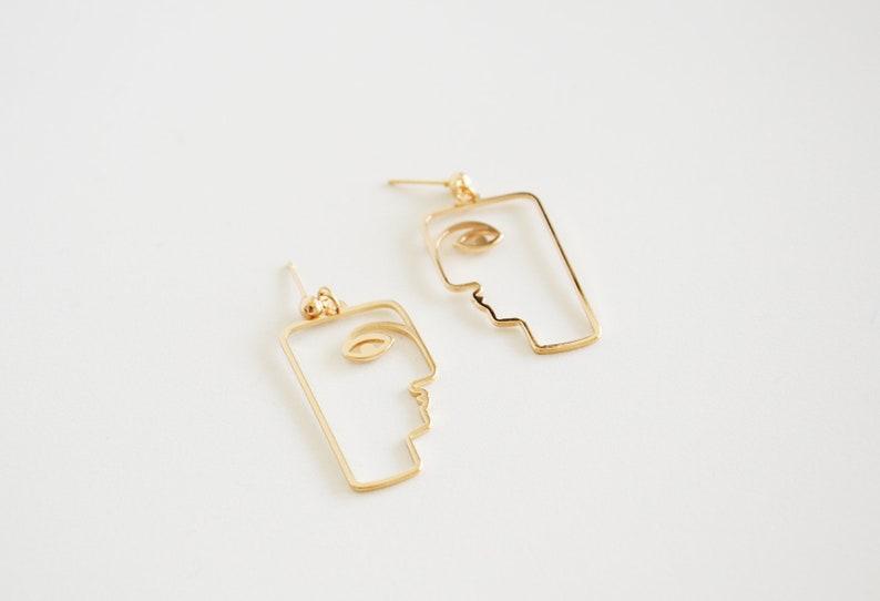 Minimalist gold color jewelry Minimalist cubist sculpture earrings