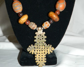Batik Ethiopian Coptic Cross Necklace
