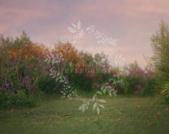 Digital Background, Spring Digital Backdrop, Dreamy Background, Photography Backdrop, Flower Field, Sunset, Sky, Photoshop, Instant Download