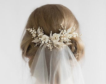 Floral Bridal Hair Comb with Pearl Earring Set, Pearl Bridal Hair Comb, Wedding Hair Accessory,Rhinestone Hair Comb,Headpiece,Bridal Jewelry