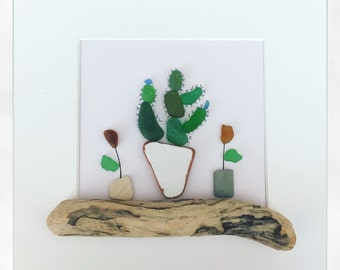 Sea Glass Cactus and Flowers Wall Art