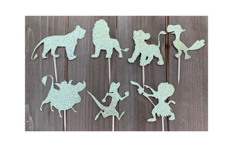 Lion King Gold Glitter Toppers  Lion King Cupcake Toppers 12CT