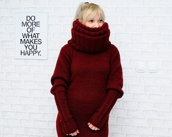 9e9313185b8 Hu-u-u-ge Giant Tneck Unisex ANGORA Goat HAND KNITTED Dress Handmade  Handcrafted Wool Mohair Sweater Rollkragenpullover Free Postage