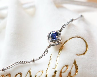 Royal Blue Sapphire Italy bracelet, 18k white gold, September birthstone, Vintage classic style, ultra thin 1mm,  Made to order