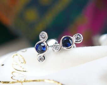 Sapphire Gold earrings, 18k Solid Gold Royal Blue Sapphire & Diamonds, Unique design, September birthstone, Perfect alone or paired