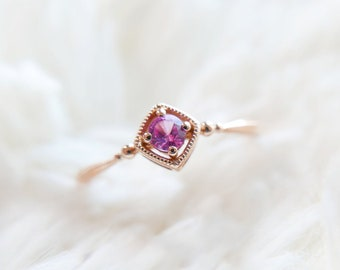Pink Sapphire millegrain ring, 18k rose gold, September birthstone, Vintage classic style, Made to order