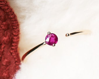 18k Solid Gold Ruby Ring, July birthstone, Stacking everyday ring, THE BALANCE, Fire Round