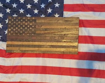 Thin red line so others may live rustic wood us flat
