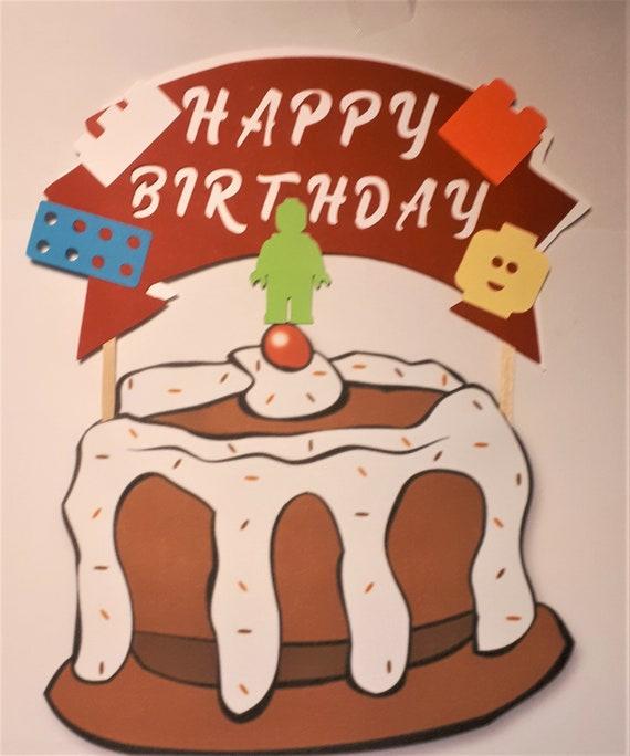 Incredible Lego Birthday Cake Topper Matching Our Confetti Lego Set Etsy Funny Birthday Cards Online Alyptdamsfinfo