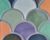Ceramic Moroccan 3x3 Tile, Fish Scale, Peacock, Feather, Art Tile, Africa, Mosaic Backsplash Tile, Bath, Kitchen, Green, Blue, Metallic