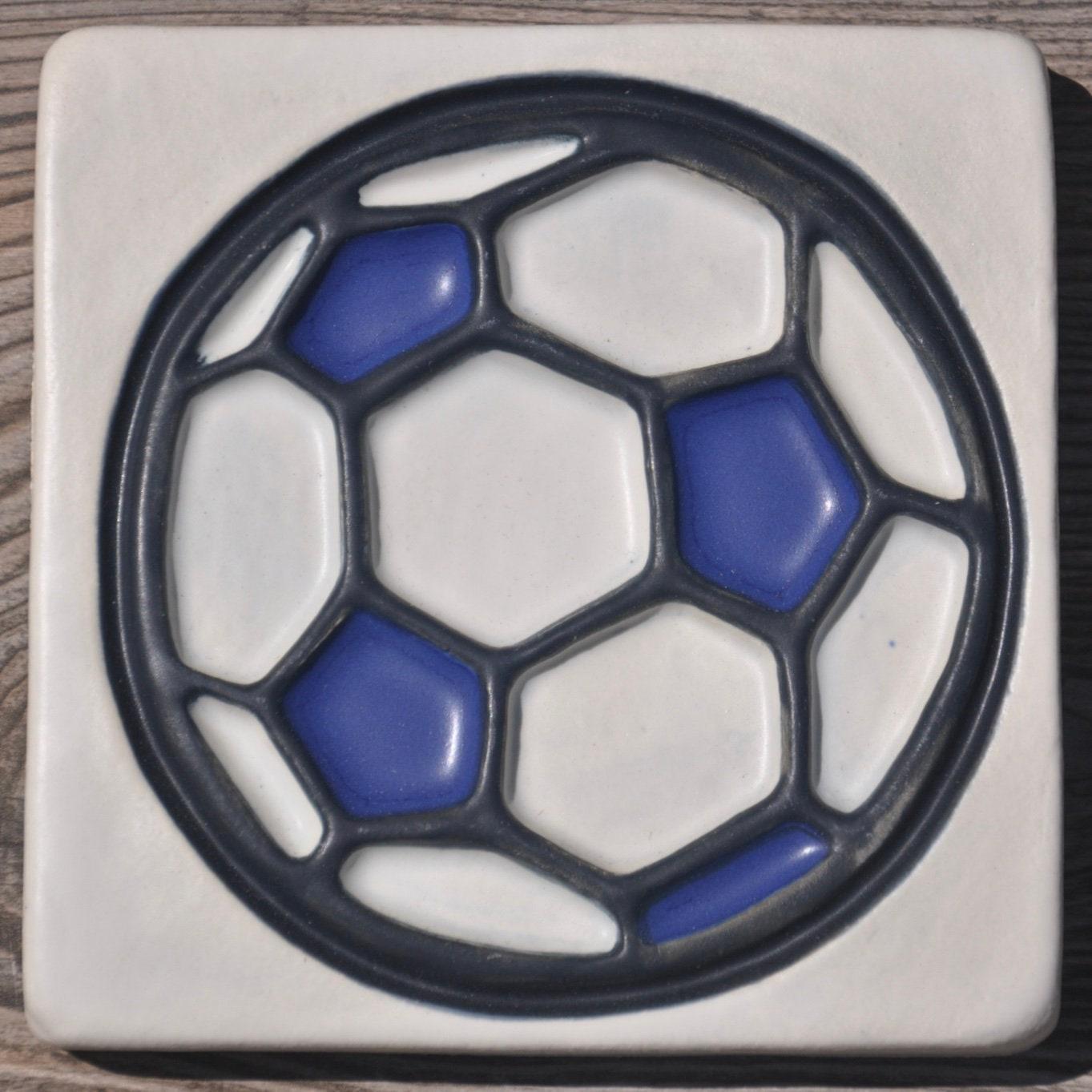 Handmade Ceramic Tilehandpainted Tilesoccer Art Etsy