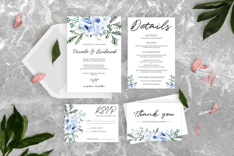 image regarding Printable Invitation Kit identified as Dusty Blue Wedding ceremony Invitation Package, Printable Invitation + Information + RSVP + Thank your self card, Hand drawn