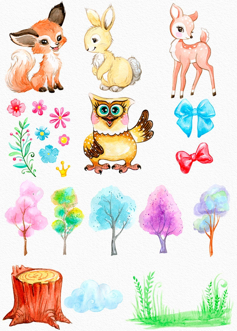 flowers nature Free Commercial License. cute characters forest Little Watercolor animals clipart friends nursery art woodland kids