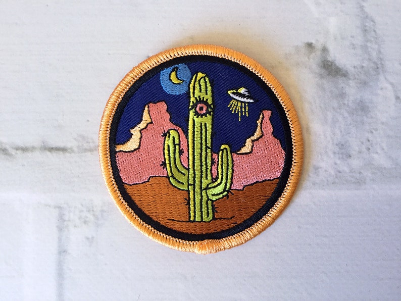 c4be3e7f20e2f Desert 3rd Eye Cactus Alien Embroidered Iron-on Patch