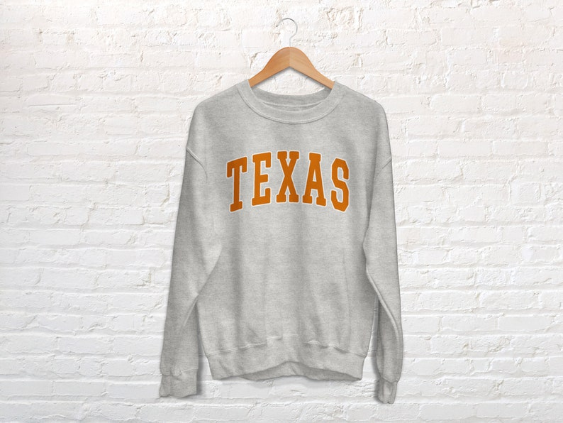 Texas Orange College Style Crewneck Sweatshirt
