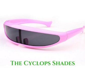 e4a41b5f02ad Futuristic Cyclops Alien Narrow Mirror Lens Costume Adult Sunglasses