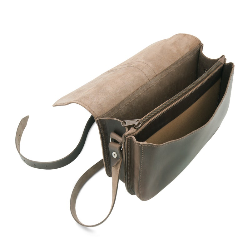 leather care by THIELEMANN Women/'s cross-body handbag VANCOUVER in dark brown leather incl Made in Germany